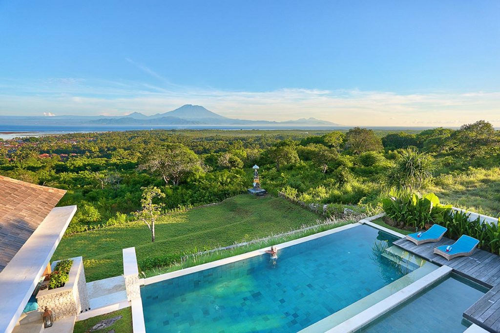353 Degrees North - Roof Top Terrace View across the Infinity Pool and Nusa Lembongan to Mount Agung on Bali