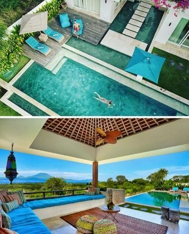 INFINITY POOL FROM ABOVE AND OUTDOOR LOUNGE AT VILLA 353 DEGREES NORTH ON NUSA LEMBONGAN, BALI