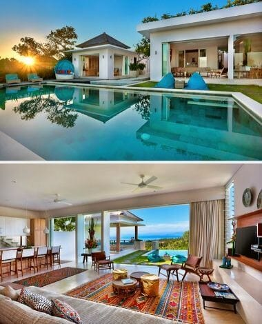 OPEN PLAN LIVING AREA AT VILLA 353 DEGREES NORTH ON NUSA LEMBONGAN, BALI AND LOOKING ACROSS INFINITY POOL BACK TOWARDS VILLA