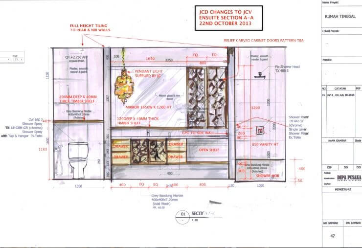 CABINETRY SKETCH OF 353 DEGREES NORTH MASTER ENSUITE