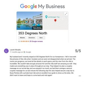 VILLA 353 DEGREES NORTH ON NUSA LEMBONGAN TESTIMONIALS - LAUREN MURPHY
