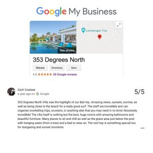 VILLA 353 DEGREES NORTH ON NUSA LEMBONGAN TESTIMONIALS - ZACH COETZEE